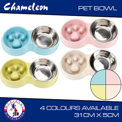 £9.45 • Buy Chameleon Pet, Dog, Puppy Double Food Bowl, Stainless Steel, Slow Feed / Water