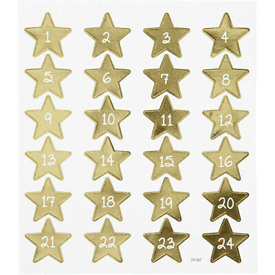 £2.99 • Buy Creativ Advent Stickers Star Numbers Stickers Sheet Gold Foil Decorating 1-24
