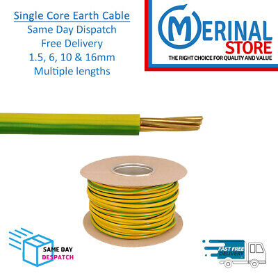 £2.08 • Buy Single Core Earth  Cable Yellow & Green Bonding Conduit Multiple Lengths & Sizes