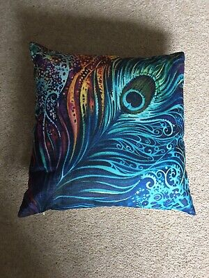 Peacock Feather Cushion Cover And Cushion Pad Included    • 3.99£