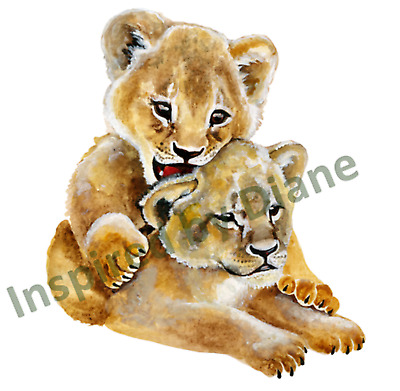 Transparent Self-adhesive Wall Sticker From Painted, Lions, Nursery, Kids 034 • 3.99£