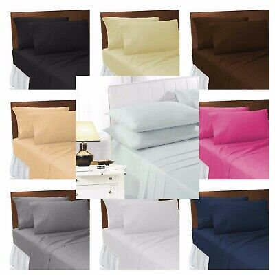 £6.89 • Buy Easy Iron Percale Plain Dyed Flat Sheet Fitted Bed Sheet 100% Poly Cotton Sheets
