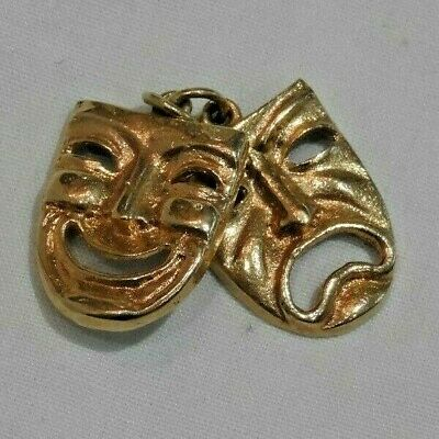 £289.80 • Buy 14K Yellow Gold Comedy Tragedy Theater Masks Charm