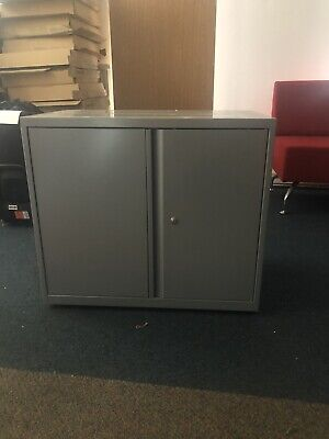 Bisley Double Door Cupboard Desk High 700mm X 800mm Wide Shelf & Key In Silver • 85£