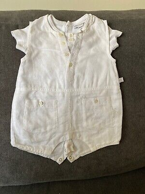 £7 • Buy Baby Boy Jean Bourget White Romper 1 Month