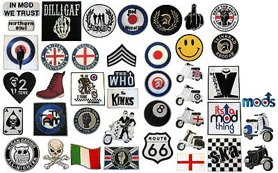 MODS Scooterists Northern Soul 2 Tone SKA Scooter Iron On Cloth RAF Patches NEW • 2.59£
