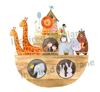 Transparent Self-adhesive Sticker From Painted Wall, Decal Noahs Ark,nursery 042 • 3.99£