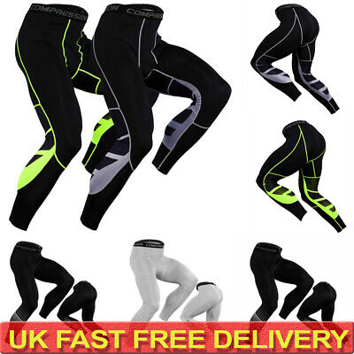 Mens Compression Gym Running Leggings Fitness Workout Base Layer  Skin Pants UK • 9.19£
