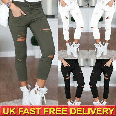 £13.79 • Buy Plus Size Womens Ripped Denim Jeans Pants Ladies Skinny Casual Jeggings Trousers