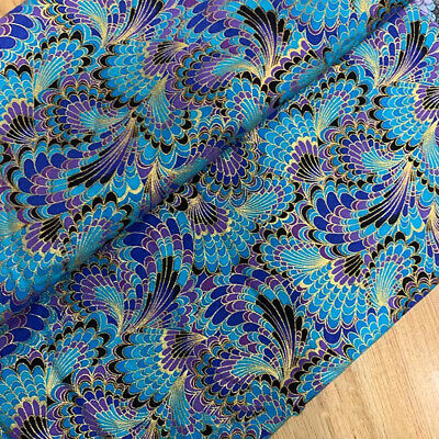 £4.04 • Buy 1PC Japanese Peacock Phoenix Tail Fabric Bronzing Cotton DIY Sewing Material