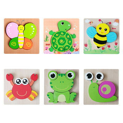 Wooden Puzzles Toy For 1-3 Year Olds Toddler Animal Jigsaw Baby Educational Toys • 5.63£