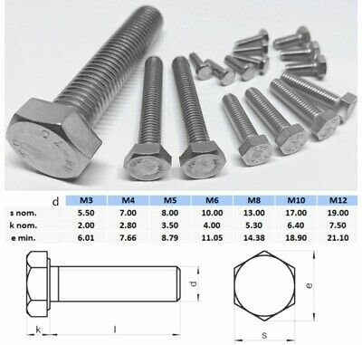 AU7.20 • Buy M8 M10 M12 Hex Head Set Screw Stainless Steel 316 Metric Coarse Bolt Full Thread