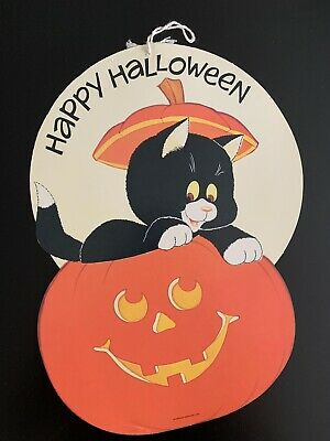 $ CDN12.96 • Buy Vintage Double-Sided Happy Halloween Cat & Pumpkin Decoration