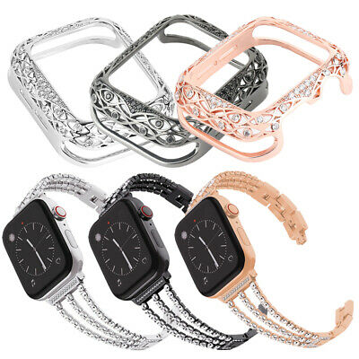 $ CDN32.16 • Buy For Apple Watch Series1-5 38mm 40 42 44mm Bling Bracelet Diamond Strap Band+Case