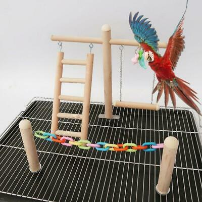 Bird Cage Stand Play Gym Wood Perch Playground Parrot Climbing Ladder Chew Chain • 12.62£