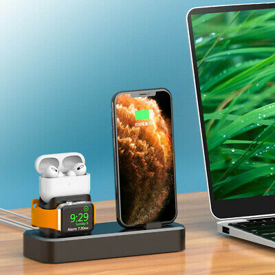 AU19.99 • Buy AU 3in1 Silicone Charger Charging Dock Stand For IWatch 5/4/3/2/1 IPhone 11 XS 8