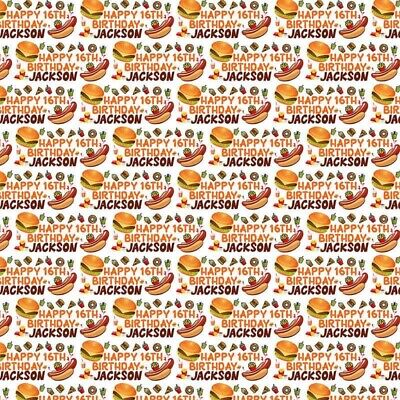 £4.99 • Buy Personalised Burger Hotdog Food Birthday Name Age Wrapping Present Wrap Paper