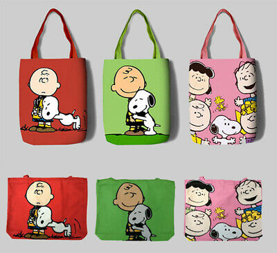 Charlie Brown + Snoopy Design Waterproof Canvas Tote Shopper Reusable Bag Gift • 10.50£