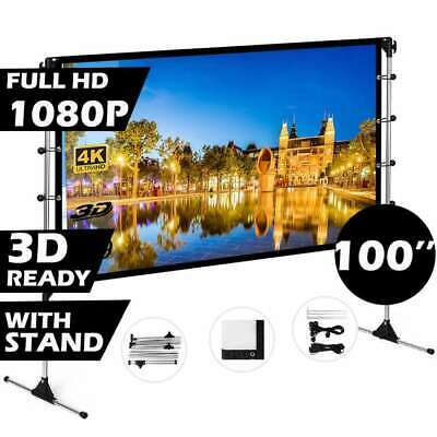 AU139.99 • Buy Projector Screen With Stand 100 Inch Indoor Outdoor Movie Projection Screen 16:9