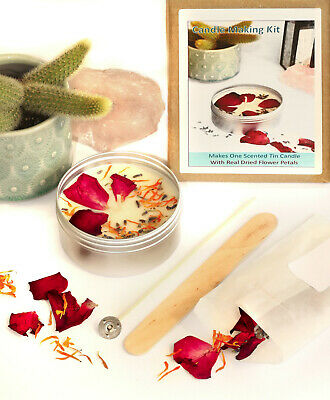 CANDLE MAKING KIT Eco Soy Wax Scented Dried Petals Rose Calendula Lavender KVG • 12.99£