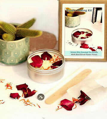 £12.99 • Buy CANDLE MAKING KIT Eco Soy Wax Scented Tin Dried Flower Calendula Rose Petal KVE