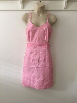 Hearts And Bows - Cutaway Pink Paisley Print Dress - Size UK 10/  Bnwt Stretchy • 6.99£
