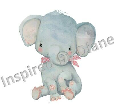 Transparent Sticker From Painted, Elephant, Nursery, Childrens, Decal, Cute, 108 • 4.99£