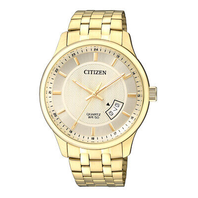 Citizen Quartz Mens Dress Watch 50M BI1052-85P Gold Plated Steel UK Seller • 109.95£