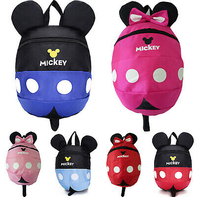 Baby Toddler Girls Kids Mickey Mouse Reins Safety Backpack Harness Book Bag • 9.49£
