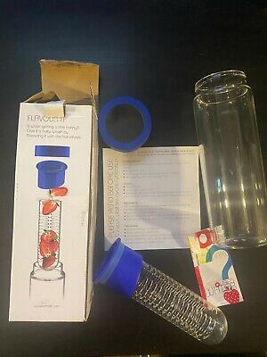 Adnart Flavourit Glass Water Bottle Fruit Infuser Blue SWG11 • 11.46£