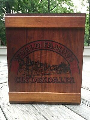 $ CDN76.24 • Buy VTG Budweiser  CLYDESDALES Wooden Crate Cabinet Beer Can Mugs Display Man Cave