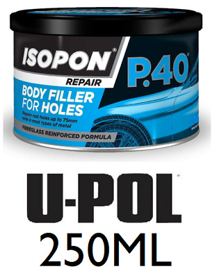 U-Pol David's Isopon P40/S Fibre Glass Body Filler 250ML Very Durable Waterproof • 7.99£