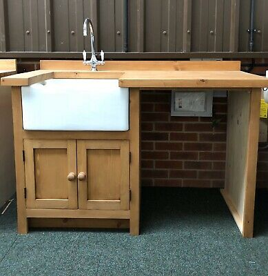 Utility Freestanding Solid Wood Kitchen Unit Inc Taps , And Belfast Sink • 1,195£