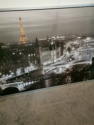 Ikea Paris City At Night Extra Large Black & White Wall Canvas Picture 140cm • 25£