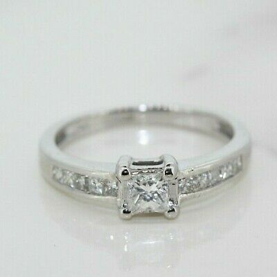 18ct White Gold 0.50ct Diamond Solitaire Ring (Size K, US 5 1/4) • 495£