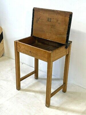 Vintage Rustic Oak Childrens School Desk With Kingfisher Brass Inkwell -delivery • 55£