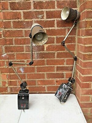A PAIR Of Vintage Industrial Factory Machine Anglepoise Lamps.  As Found. • 405£