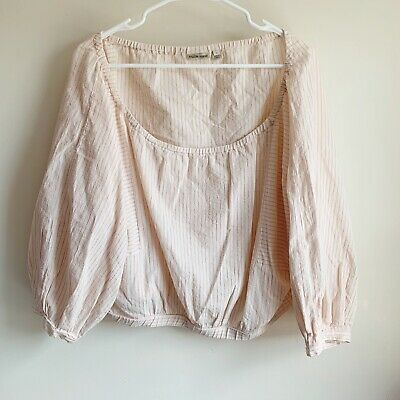 $ CDN41.51 • Buy Anthropologie Holding Horses Aria Pink Striped Off Shoulder Blouse Size Large