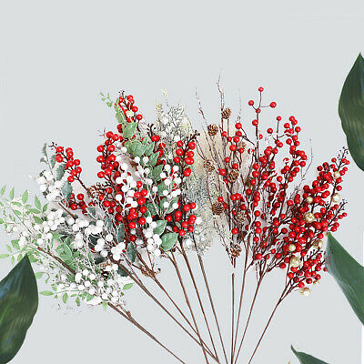 Christmas Artificial Branche Pine Berry Cone Red Fruit Fake Flower Home Decor • 3.22£
