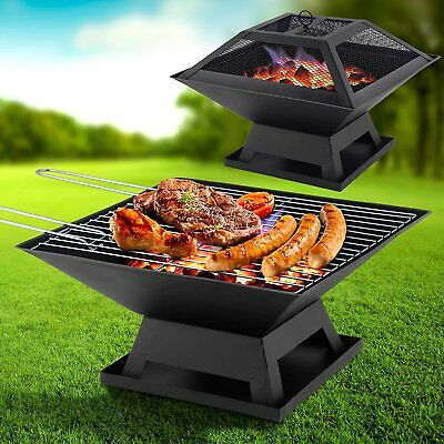 Square Fire Pit Bbq Grill Heater Outdoor Garden Firepit Brazier Patio Outside • 22.95£