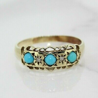 9ct Yellow Gold Blue Coral And Diamond Gypsy Ring (Size S, US 9) • 115£