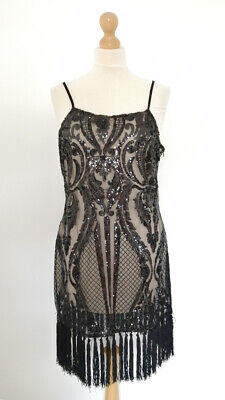 £40 • Buy ASOS In The Style Premium Black Dress Gatsby Sequins Party Fringe Tassel Size 12