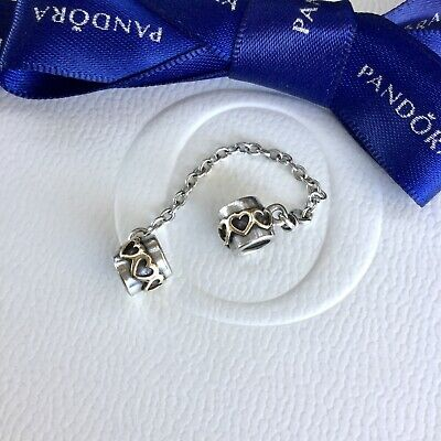 AU85 • Buy Authentic Pandora Silver 14K Gold Love Hearts Safety Chain Charm #790307