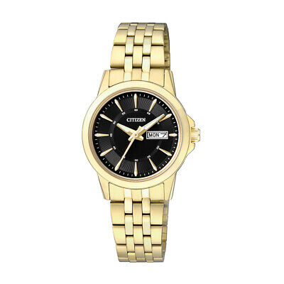 Citizen Quartz Ladies Dress Watch W.R 50M EQ0603-59E Gold Plated Steel UK Seller • 99.95£