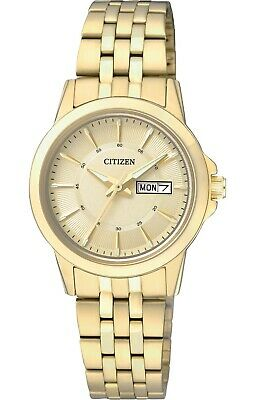 Citizen Quartz Ladies Dress Watch W.R 50M EQ0603-59P Gold Plated Steel UK Seller • 99.95£