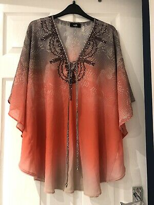 Ladies Wallis Blouse / Top. Size Small/Medium. Kaftan Style With Front Tie • 0.99£