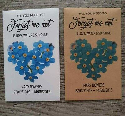 20 Personalised Funeral Seed Packets Favours Forget Me Not Keepsake Remembrance • 10£