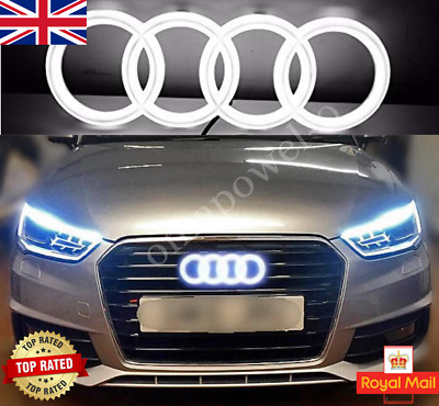 £27.89 • Buy AUDI LED BADGE A3 A4 A5 A6 WHITE LIGHT FRONT GRILL GLOW LOGO EMBLEM RINGS Silver