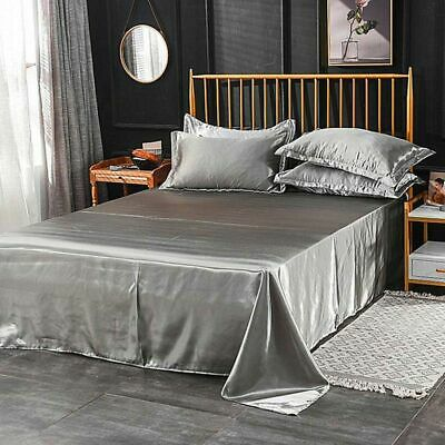 AU27.06 • Buy Silk Bed Sheets Queen King Set Satin Deep Fitted Luxury Pocket Bedding Fade New