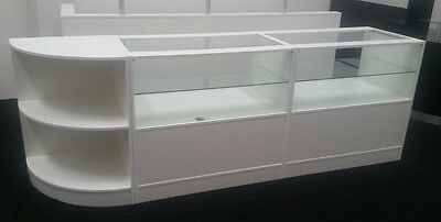 Shop Counters SET Of 3 Cabinets Shop Display Glass White Counters Kiosk • 499.99£